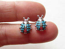 UNIQUE TURKISH TURQUOISE 925K STERLING SILVER EARRINGS LADYBUG