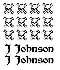 Bike Frame Name and Skull & Crossbones Set Decals Stickers