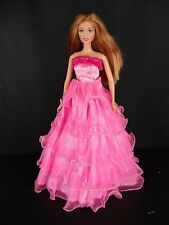 Wild Pink Gown with Lots of Ruffles & Fur Trim on the Bodice For Barbie Doll