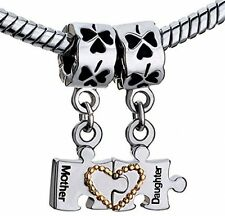 Heart Love Mother Daughter Puzzle Bracelet Charm Dangle Beads Silver