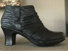 Dansko Black Leather Ankle Heeled Ruched Boots Size 42