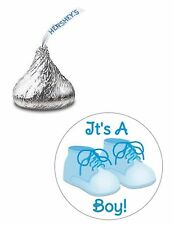 108 ITS A BOY BLUE SHOES BABY SHOWER HERSHEY KISS KISSES CANDY LABELS STICKERS*