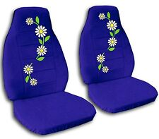 2 Front Flowing Daisies Velvet Seat Covers with 30 Color Options