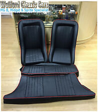 Pair of clubman bucket seats & rear seat covers for MGB GT all years black/red