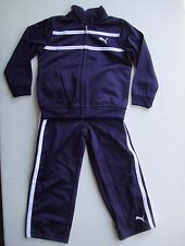 PUMA NWT Boy 2PC Track Suit Top Jacket Zip Pant Warm Up Navy Blue Polyester 4 4T