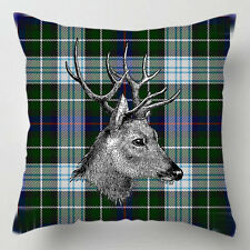 Stag on green tartan kilt scottish decor cushion / pillow