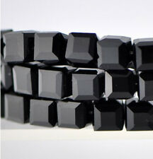 30pcs x 8mm Opaque Jet Black Crystal Faceted Cube Glass Square Beads, UK seller