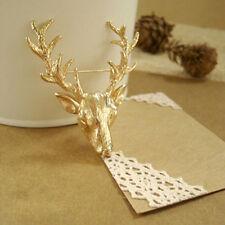 Gold Elk Milu Head Brooch Hunting Collar Neck Tips Brooch Pin Scottish Christmas