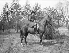 "Woman on her horse with Cat, antique decor, Vintage, 1923 Photo, 14""x10"""
