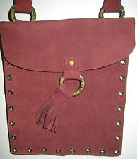 "NEW SUEDE Burgundy Cross-Body OLD NAVY Studded 8X9"" Shoulder Bag w/Pouch Satchel"