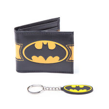 Official DC Comics Batman Yellow Logo Bi-Fold Gamer Wallet & Key Chain Gift Set