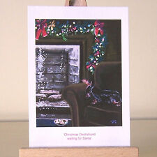vintage style Christmas Dachshund Holiday Doxie drawing ACEO art card