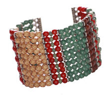 Magnificent & Ethnic - Multicolour Beads Stacks & Metal Hand Bracelet(Zx107)