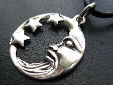 Mond mit Sternen 925'er Silber Ketten Anhänger + Lederband / KA 775