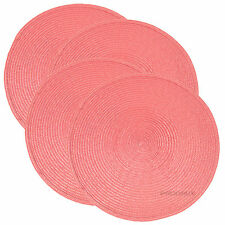 Set of 6 Woven Pink Round Fabric Placemats Dining Table Place Settings Mats