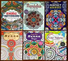 Adult coloring books, Lot of 6, Animals, Henna, Flowers, Patterns, Mandala.