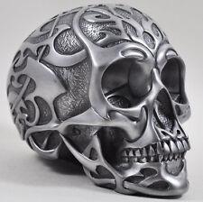 Tribal Skull Sculpture Silver Heavy Ornament Design Clinic Gothic Decor 16086