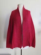 EILEEN FISHER red wool mohair cashmere blend lightweight knit cardigan XL