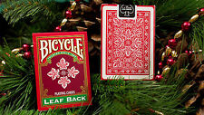 V017-2 Bicycle Red Leaf Back Holiday Deck Poker Size Playing Cards By USPC