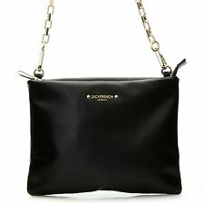"""Jack French London Smooth Leather Chain Link Strap """"Chancery"""" Cross Body BLACK"""