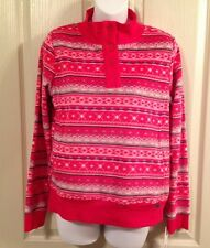 DKNY Red Stripe Fleece Lounge Sleep Mock Neck Top w/Pockets Sz Small $44