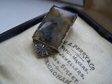 GORGEOUS VINTAGE LARGE MOSS AGATE & MARCASITE 935 STERLING SILVER DRESS CLIP