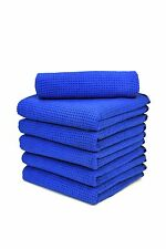 "Microfiber Waffle Auto Cleaning Drying Towels 16"" x 24"" Blue 1 Dz Free Shipping"