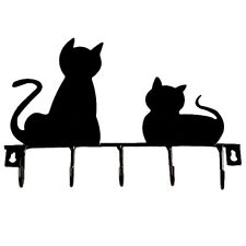 Fashion Black cat design Metal Iron Wall Door Hooks Robe Hanger ED