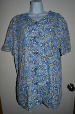 MOONS & STARS Women's Scrub Top LARGE Blue Yellow Space Nursing Uniform