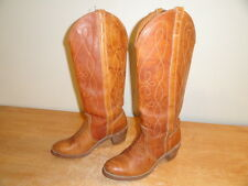 Women's Vintage Brown Leather ACME DINGO Tall Cowboy Western Riding Boots 8.5M