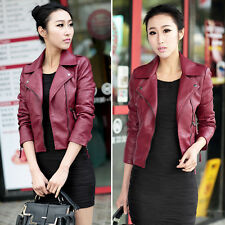Women Slim Biker Motorcycle Lapel Jacket Faux Leather Long Sleeve Zip Coat Tops