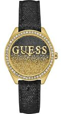 GUESS U0823L6 Trendy Black Leather Strap Crystal Women's Watch NEW