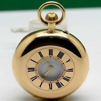 1900's THOMAS RUSSELL 18K SOLID GOLD MANUAL WIND HUNTER POCKET WATCH 37.5mm