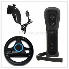 Remote + Nunchuck + Steering Wheel Controller For Nintendo Wii U Wii Black NEW
