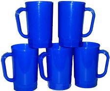 8 Large 32 Oz Blue Plastic Beer Mugs Made in America Dishwasher Safe Top Shelf