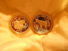 """2 MINT COINS  - """"WWF SILVER CONSERVATION COINS – ZAIRE"""""""