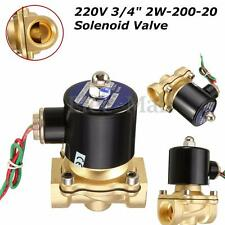 AC 220V 3/4''  Brass Electric Solenoid Valve Water Air Fuels Black 2W-200-20