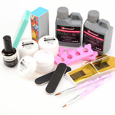 Pro Acrylic Liquid Primer Nail Art Brush 3 Color Powder Tips Tool Set Kit