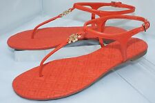Tory Burch Marion Shoes Poppy Red Quilted Sandals Size 8 Thongs Flats NIB