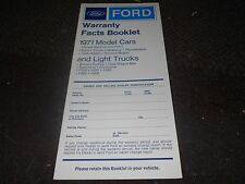 NOS 1971 FORD MUSTANG MACH 1 BOSS TORINO MAVERICK BRONCO WARRANTY FACTS BOOKLET