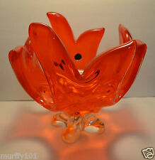 Vintage Huge Lorraine Chalet Canada RED And Orange Art Glass Blown Centerpiece
