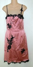 Papell Boutique Evening Pink Black Bead Flower Lace Prom Formal Dress + Shawl 6