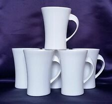 Lot de 6 plain white bone china ovale twist tasses modernes