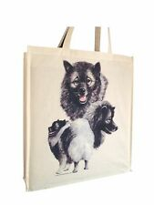 Keeshond Reusable Cotton Shopping Bag Tote with Gusset and Long Handles
