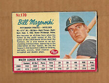 Bill Mazeroski Pittsburgh Pirates 1962 Post Baseball Card #170 VG-EX HOF