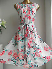 MONSOON GLORIA GARDEN PARTY FLORAL 50'S VINTAGE PROM FIT FLARE WEDDING DRESS 16