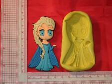 Frozen Elsa 2D Silicone Push Mold Cake Chocolate Resin Clay A689 Fondant