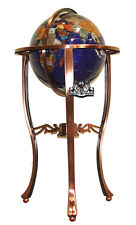 "36"" Tall Blue Pearl Swril Gemstone World Globe with Tripod Copper Floor Stand"