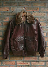 VTG 60s BURGUNDY LEATHER FLIGHT BOMBER JACKET MOTORCYCLE TALON ZIP USA SIZE 36