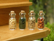 Miniature Dollhouse FAIRY GARDEN Accessories ~ Set 4 Glass Spice Seed Jars ~ NEW